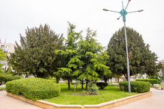 Square on the forecourt of Burgas in Bulgaria. Burgas - the regional center in Bulgaria, a major seaport on the Black Sea. Modern and historic city Royalty Free Stock Photos