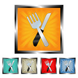 Square fork and knife buttons Royalty Free Stock Image
