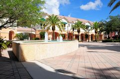 Square with fountain, businesses, stores in Florida Stock Photos