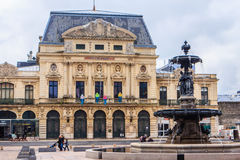 A square with fountain in Cherbourg. Stock Images