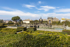 Square Fountain and Mannerist garden. Lazio, Italy. Villa Lante (italian location) at Bagnaia (italian city) is a Mannerist garden of surprise near Viterbo ( Royalty Free Stock Photography