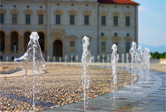 Square fountains. Reggia di Venaria Reale (Royal Palace) near Turin, Italy Royalty Free Stock Photo