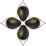 Square of four avocados between two forks Royalty Free Stock Photo