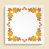 Square frame with autumn leaves border Royalty Free Stock Photo
