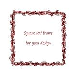 Square frame with black,red, pink, burgundy branches and leaves stock illustration