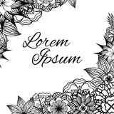 Square frame with black and white doodle flowers Royalty Free Stock Image