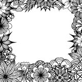 Square frame with black and white doodle flowers Royalty Free Stock Photo