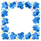 Square frame of blue meeples Royalty Free Stock Photos