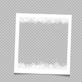 Square frame Christmas snow. Christmas square photo frame with snow and shadow on transparent background. Photograph empty blank holiday celebration template Royalty Free Stock Photo