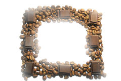 Square frame of coffee beans and chocolate Stock Photos