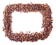 Square frame from coffee beans. On white isolated background Stock Photo