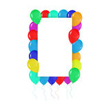 Square frame of colorful balloons in the style of realism. to design cards, birthdays, weddings, fiesta, holidays, Royalty Free Stock Photography