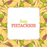 Square frame composed of delicious pistachios nut. Vector card illustration. Nuts , pistacia fruit in the shell, whole Royalty Free Stock Photos