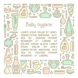 Square frame concept with baby hygiene accessories. And sample text on white background vector illustration