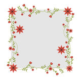 Square frame with creepers and red flowers Royalty Free Stock Photo