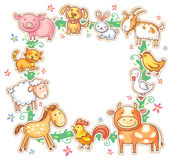 Square Frame with Cute Cartoon Farm Animals Stock Images