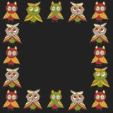 Square frame Cute characters Cartoon owls and owlets birds sketch doodle green brown dark red burgundy on black background. Vector. Illustration Stock Photos