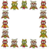 Square frame Cute characters Cartoon owls and owlets birds sketch doodle green brown dark red burgundy isolated on white backgroun. D. Vector illustration Royalty Free Stock Photography