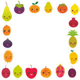 Square frame cute funny kawaii fruit Pear Mangosteen tangerine pineapple papaya persimmon pomegranate lime apricot plum dragon fru Stock Photos