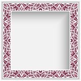 Square frame with cutout lace border pattern. Square photo frame with lace border pattern, cutout paper ornament, template for laser cutting, vintage decoration Royalty Free Stock Photo