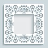 Square frame with cutout lace border pattern. Square photo frame with lace border pattern, swirly ornament, template for laser cutting or cutout paperwork Royalty Free Stock Photography