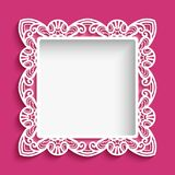 Square frame with cutout lace pattern. Square frame with lace border pattern, swirly ornament suitable for laser cutting or cutout paperwork, elegant decoration Stock Photography