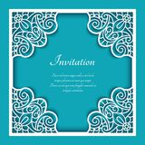 Square frame with cutout lace pattern. Square frame with lace border pattern, cutout paper ornament, template for laser cutting or wood manufacturing, elegant Stock Photos