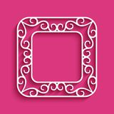 Square frame with cutout paper border. Square vector frame with cutout paper border, ornamental swirly decoration, template for cutting Stock Photography