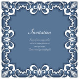 Square frame with cutout paper swirls. Greeting card or wedding invitation template Stock Photography