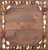 Culinary frame. Square frame from different varieties of nuts Stock Photo