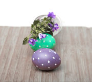 Square frame with Easter eggs on wood Royalty Free Stock Images