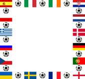 Square frame European football championship 2012. Square frame, composed of the flags from all 16 participating countries, sorted according to groups, and soccer Stock Images