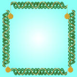 Square frame and fir branches with gold garland and balls. On a light turquoise background Stock Image