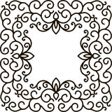 Square frame of floral pattern black on white Royalty Free Stock Photo