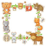 Square Frame with Forest Animals. Square frame with cartoon forest animals, no gradients Stock Photo