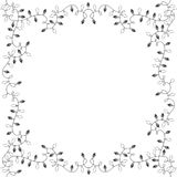 Square  frame of garlands. Festive background. Festive background with garlands. Black and white Christmas  illustration Stock Photos