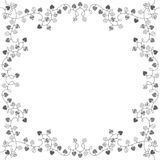 The square frame with garlands of love hearts. Vector illustration with space for text on white background. Festive background with garlands. Black and white Stock Image
