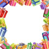 Square frame of gifts. watercolor. Stock Photo
