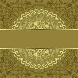 Square frame with golden floral circle Royalty Free Stock Images