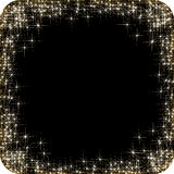 Square frame with golden stars on the black background, sparkles golden symbols  - star glitter, stellar flare Stock Photo