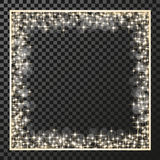 Square frame with golden stars on the transparency background, sparkles golden symbols  - star glitter, stellar flare, shining ref Stock Photography