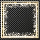 Square frame with golden stars on the transparency background, sparkles golden symbols  - star glitter, stellar flare, shining ref Royalty Free Stock Photography