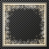 Square frame with golden stars on the transparency background, sparkles golden symbols  - star glitter, stellar flare, shining ref Royalty Free Stock Images