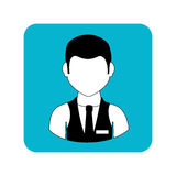 Square frame with half body man with waistcoat and tie Royalty Free Stock Photos