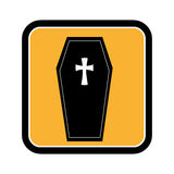 Square frame of halloween with coffin Stock Photo
