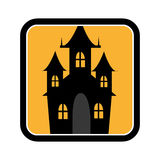 Square frame of halloween with scary casttle Royalty Free Stock Photos