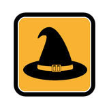 Square frame of halloween with witch hat Royalty Free Stock Images