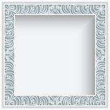 Square frame with cutout lace border pattern. Square frame with lace border pattern, vintage ornamental photo frame, elegant decoration for greeting card or Royalty Free Stock Images