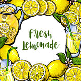 Square frame of lemons, lemonade with round place for text Stock Photos