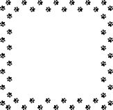 Square frame made of black animal paw prints on white background. Vector illustration, template, border, framework, photo frame, poster, banner, cats or dogs Royalty Free Stock Photography